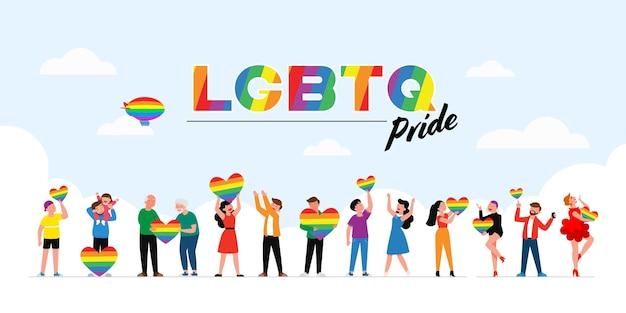 Die menschen halten während der feier des stolzmonats gegen gewalt eine lgbt-regenbogen- und transgender-flagge