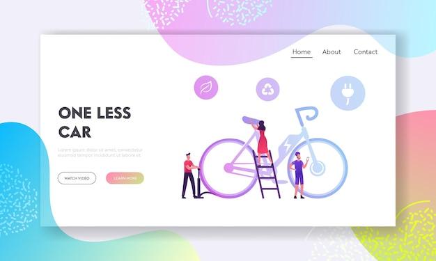 Die menschen nutzen moderne fahrräder, einen gesunden bio-lebensstil und die landing page der green energy-website.