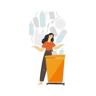 Die menschen sind damit beschäftigt, müll und umweltschutz zu recyceln