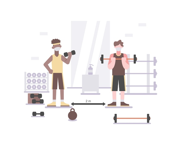 Die menschen tragen im fitnessstudio eine gesichtsmaske, um gesund zu bleiben, indem sie weiter üben und sich fit halten und sicherheitsprotokolle wie soziale distanzierung durchführen