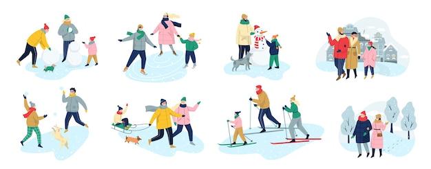 Die menschen verbringen im winter zeit im freien. menschen in warmer kleidung machen winteraktivitäten. winteraktivität mit der familie. kalte jahreszeit, schlittschuh auf der eisbahn und schneemann machen, skifahren. illustration