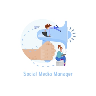 Die metapher des social media managers in der illustration, ein riesiges megaphon und winzige leute daneben vermarkten online.
