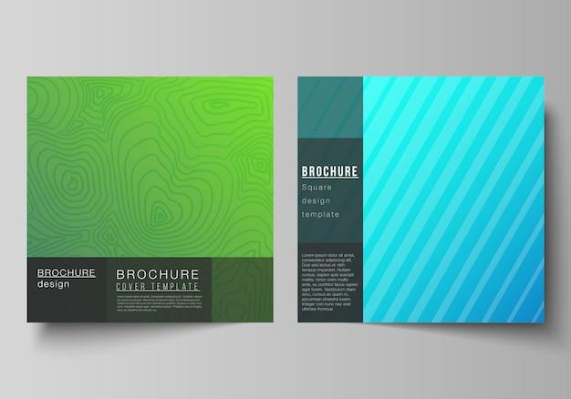 Die minimale darstellung des bearbeitbaren layouts von zwei quadratischen formaten umfasst designvorlagen für broschüre, flyer und magazin. abstraktes geometrisches muster mit buntem gradientengeschäftshintergrund.