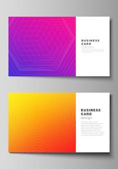 Die minimalistische abstrakte darstellung des bearbeitbaren layouts von zwei kreativen visitenkarten-entwurfsvorlagen. abstraktes geometrisches muster mit buntem gradientengeschäftshintergrund.