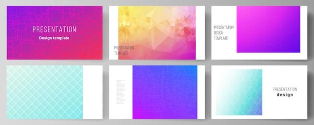 Die minimalistische zusammenfassung des bearbeitbaren layouts der präsentationsfolien entwirft geschäftsvorlagen. abstraktes geometrisches muster mit buntem gradientengeschäftshintergrund.