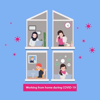 Die mitarbeiter arbeiten von zu hause aus, um die verbreitung des coronavirus covid-19 zu vermeiden.