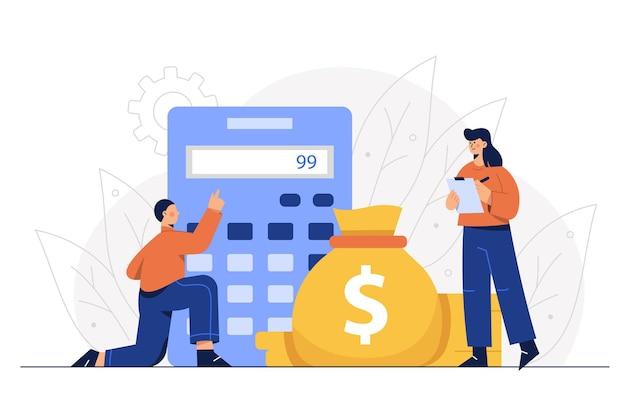 Die mitarbeiter der finanzabteilung berechnen die kosten des unternehmens.