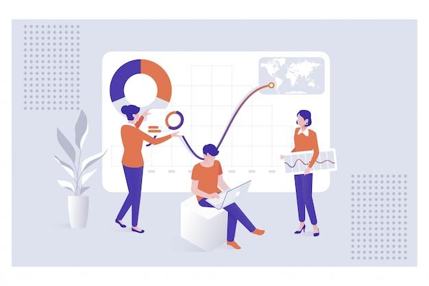 Die mitarbeiter des teams analysieren diorame und grafiken