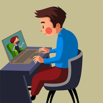 Die mitarbeiter haben ein online-treffen mit seinem leiter