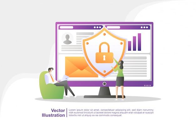 Die mitarbeiter sichern die datenverwaltung und schützen die daten vor hackerangriffen. sichern und speichern sie wichtige daten.