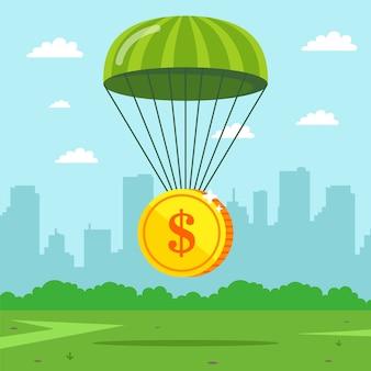 Die münze fällt auf einen fallschirm. versicherte finanzen aus der krise.
