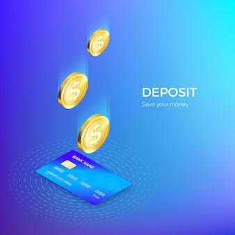 Die münze fällt in das isometrische banner der kreditkarte. bank- oder zahlungsservice. nachschub einzahlen und geld sparen.