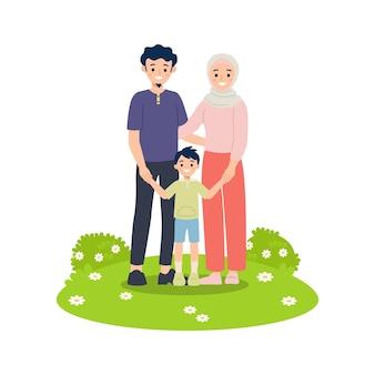Die muslimische familie besteht aus mutter, vater und sohn, die hand zusammenhalten. glückliches familienkonzept lokalisiert auf weiß.