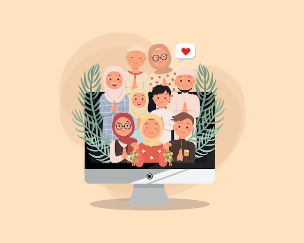 Die muslimische familie bleibt per videoanruf in verbindung