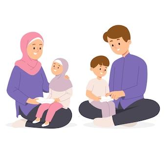 Die muslimische familie von mutter und vater trägt hijab und lehrt kinder, das koran-geschichtenerzählen aus dem heiligen buch in der hausillustration zu lesen