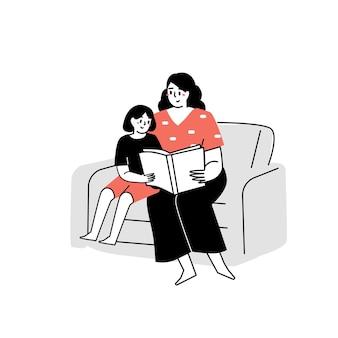 Die mutter hat dem kind ein buch vorgelesen ein buch lesen familienzeit den kindern vorlesen
