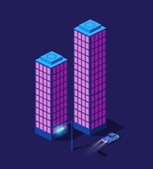 Die nacht smart city 3d zukunft neon ultraviolett satz von städtischen infrastruktur isometrischen gebäuden