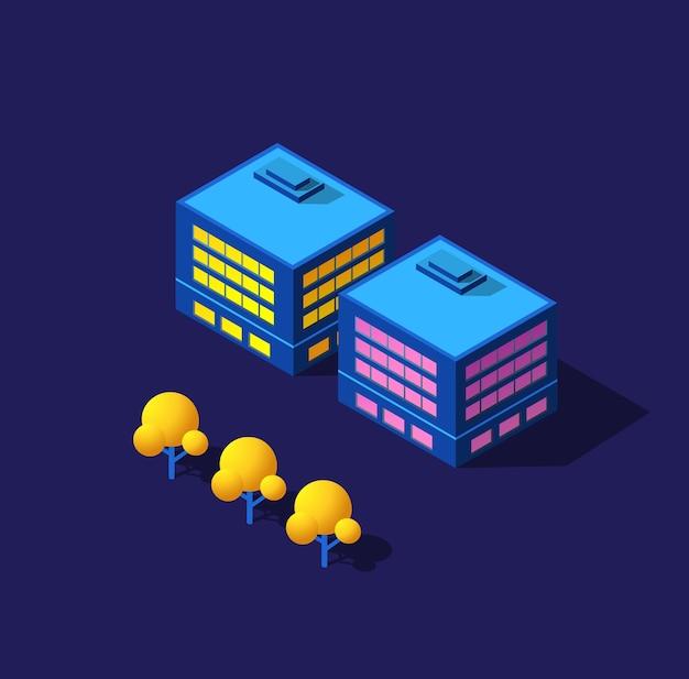 Die nacht smart city 3d zukunft neon ultraviolett satz von städtischen infrastruktur isometrischen gebäuden.