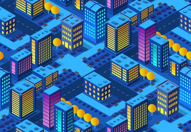 Die nacht smart city nahtlose hintergrundmuster 3d zukunft neon ultraviolett satz von städtischen infrastruktur isometrischen gebäuden.