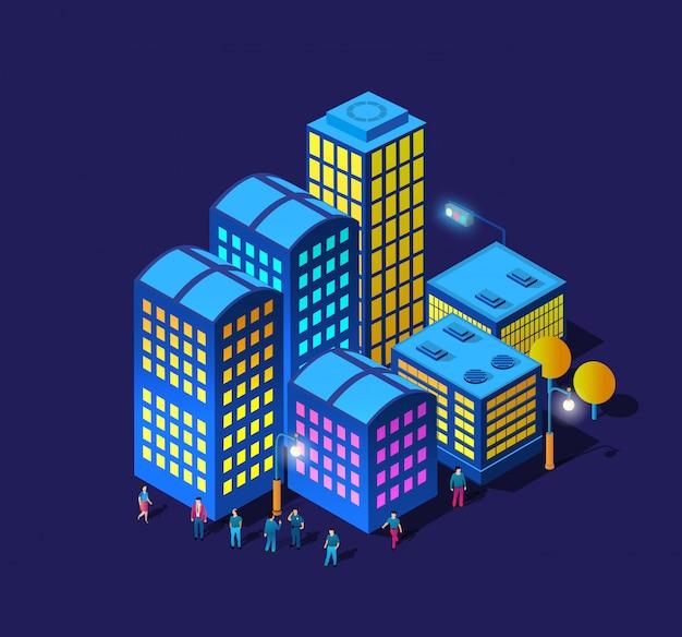 Die nacht smart city walking promenade menschen 3d zukunft neon ultraviolett set