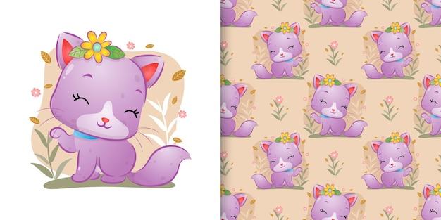 Die nahtlose der niedlichen katze mit den blumen, die auf dem garten mit dem blumenhintergrund der illustration sitzen