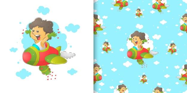 Die nahtlosigkeit des amors, der das flugzeug in der aquarellillustration der illustration spielt