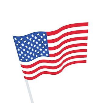 Die nationalflagge der vereinigten staaten auf einer stange. die wehende fahne. flache vektor-illustration.