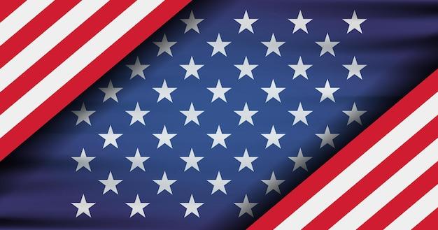 Die nationalflagge der vereinigten staaten von amerika. moderne flache abbildung. amerikanische flagge zum unabhängigkeitstag.