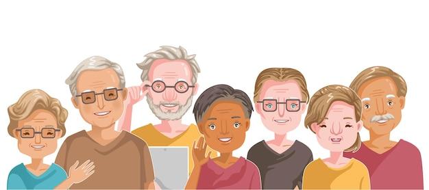 Die nationalitäten älterer menschen sind unterschiedlich