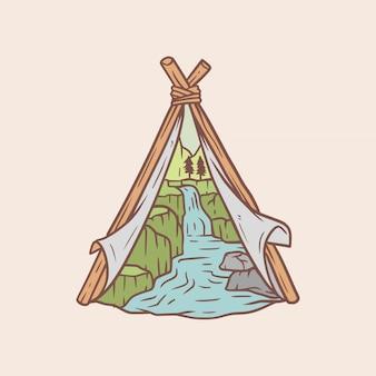 Die natürliche landschaft im camp