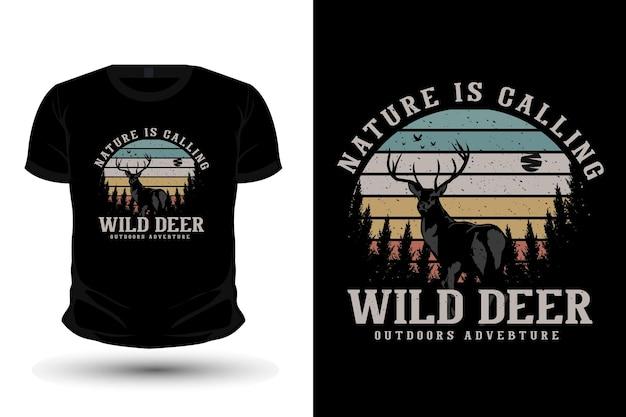 Die natur ruft wildes hirsch merchandise silhouette mockup t-shirt design