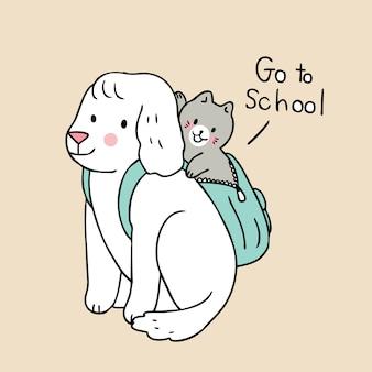Die niedliche karikatur zurück zu schulkatze und -hund gehen zur schule