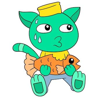 Die niedliche katze, die sitzt, stiehlt stehlen und isst goldfische, vektorillustrationskunst. doodle symbolbild kawaii.