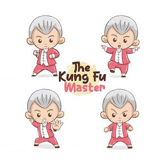 Die niedliche kung-fu-meisterillustration