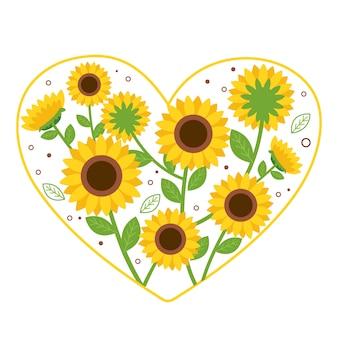 Die niedliche sonnenblume in form des herzens auf dem weißen hintergrund. die süße sonnenblume. die süße sonnenblume und blume im flachen stil. die süße sonnenblume mit tupfen und blatt.