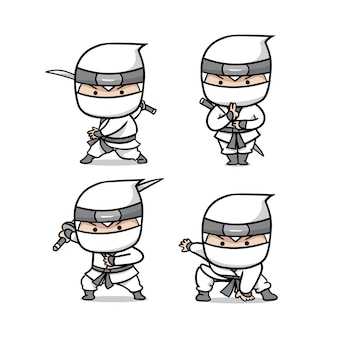 Die niedliche weiße ninja-set-illustration
