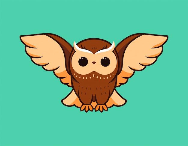 Die niedlichen eulenfliegen breiteten ihre flügel aus. logo, zeichentrickfigur, logo