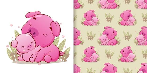 Die niedlichen schweine, die auf dem gras mit dem farbigen nahtlosen muster der illustration sitzen
