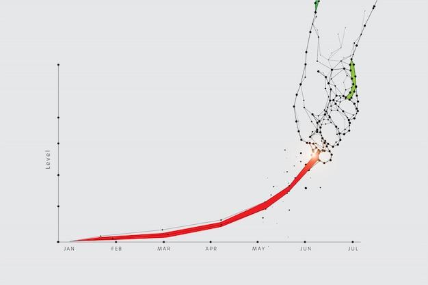 Die partikel, geometrische kunst, den graphen hochzuziehen
