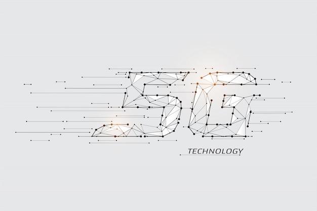 Die partikel, geometrische kunst, linie und punkt der internetgeschwindigkeit.