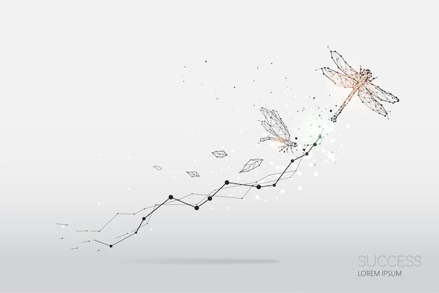 Die partikel, geometrische kunst, linie und punkt der libelle