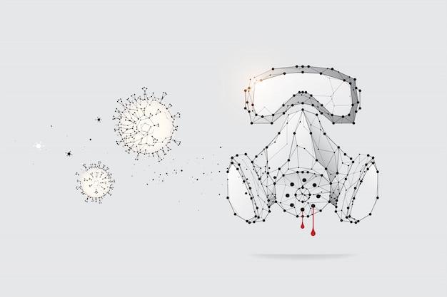 Die partikel, geometrische kunst, linie und punkt der schutzmaske