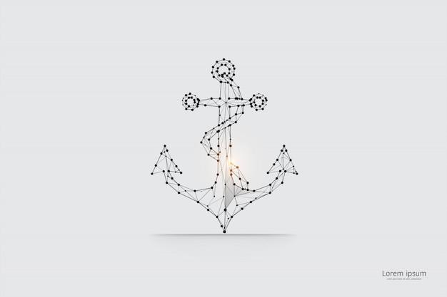 Die partikel, geometrische kunst, linie und punkt des ankers.