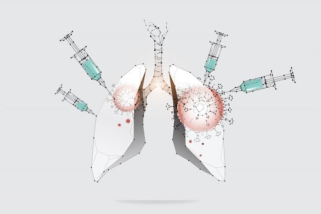 Die partikel, geometrische kunst, linie und punkt des impfstoffs.