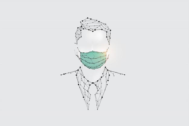 Die partikel, geometrische kunst, linie und punkt des menschen mit maske zum virenschutz