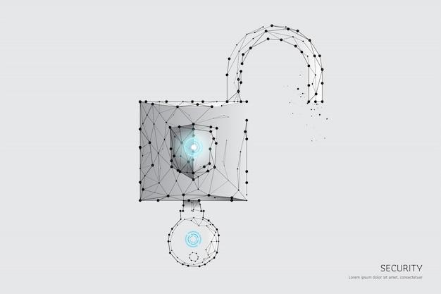Die partikel, geometrische kunst, linie und punkt des schlüssels