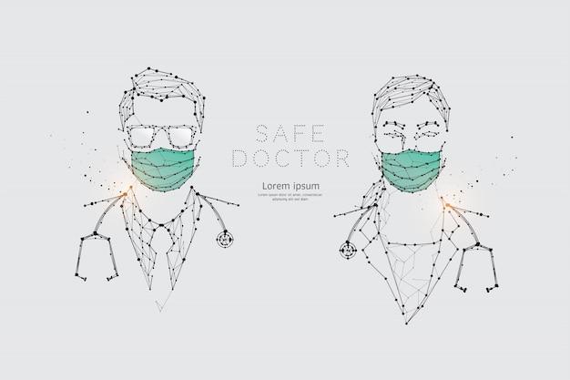 Die partikel, geometrische kunst, linie und punkt von ärzten mit maske zum virenschutz