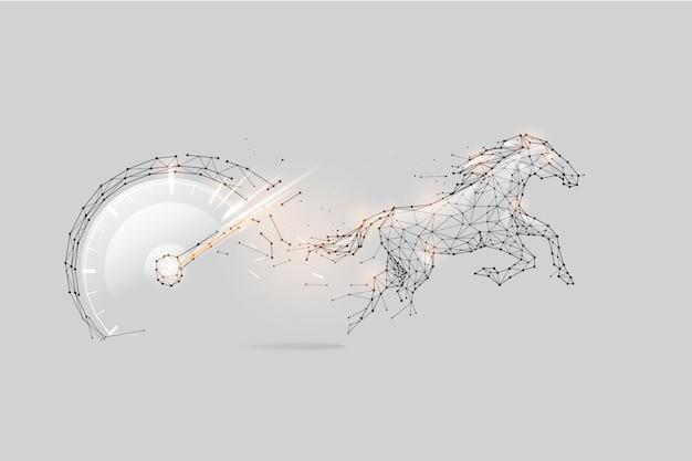 Die partikel, geometrische kunst, linie und punkt von geschwindigkeitsmesser und pferd.