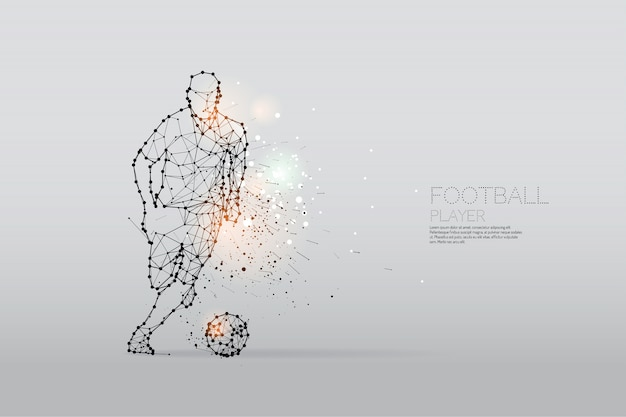 Die partikel und der linie punkt der fußballspielerbewegung