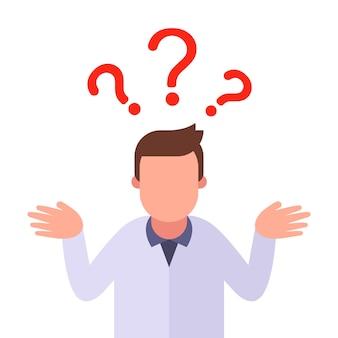 Die person stellt eine frage und möchte eine antwort erhalten.